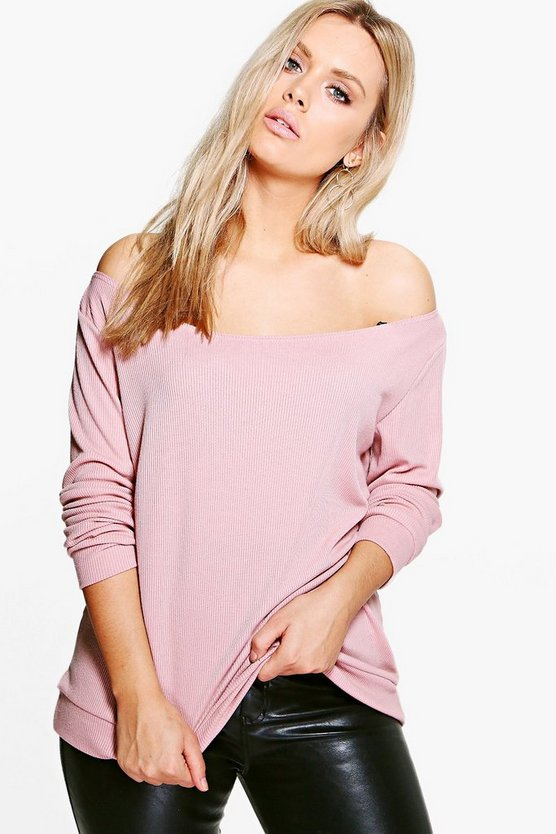 Plus Holly Off The Shoulder Knitted Rib Top