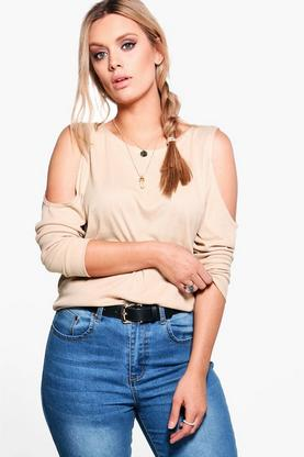 Plus Maya Cold Shoulder Knitted Tunic