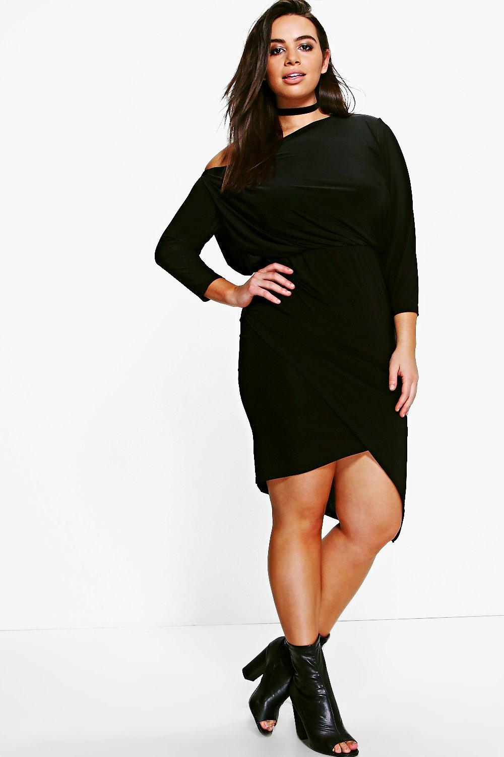 Sasha Off The Shoulder Asymmetric Dress  black