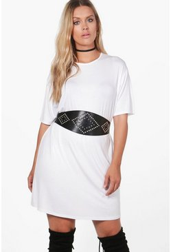 Plus Faye Studded High Waist Belted T-shirt Dress