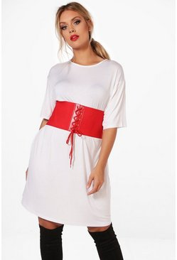 Plus Cerys High Waist Belted T-shirt Dress