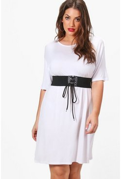 Plus Zoe Waisted Belt T-shirt Dress