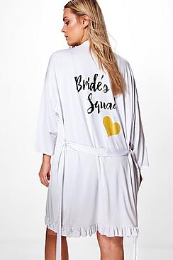 Plus Tara Bride Squad Ruffle Hem Bridal Robe