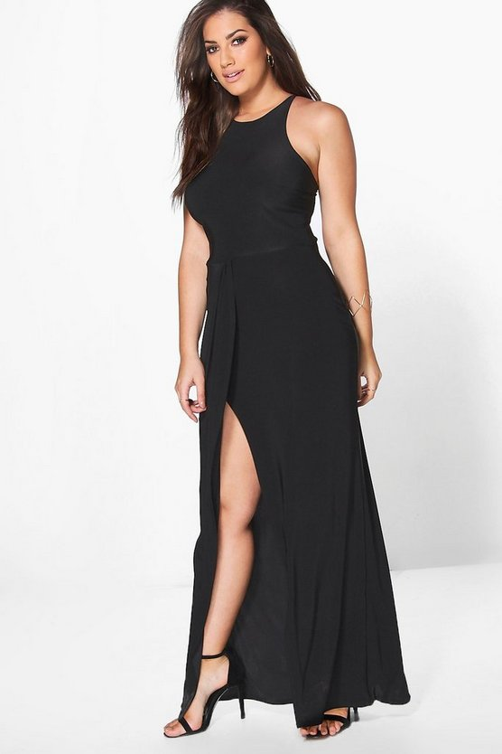 Plus Jules Slinky Drape Wrap Maxi Dress