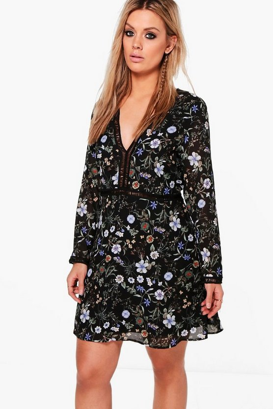 Plus Floral Plunge Neck Shift Dress