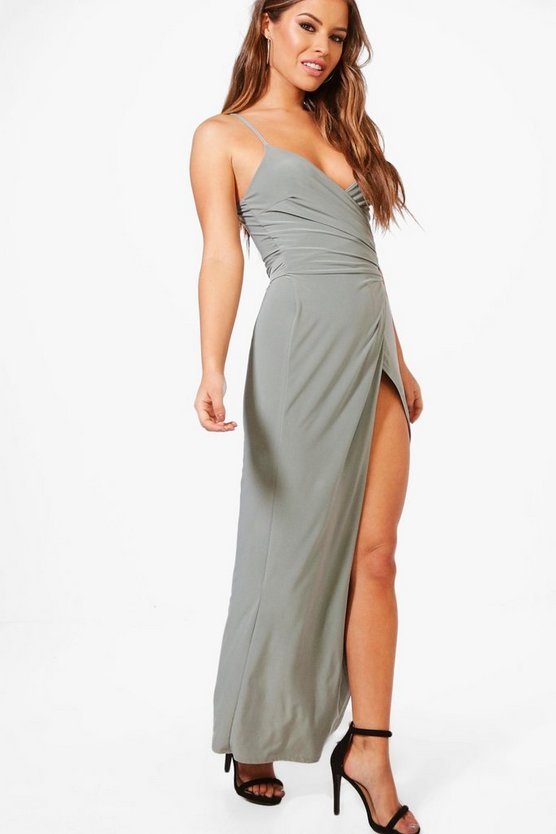 Petite Wrap Strappy Maxi Dress
