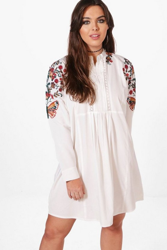 Plus Embroidered Shoulder Dress