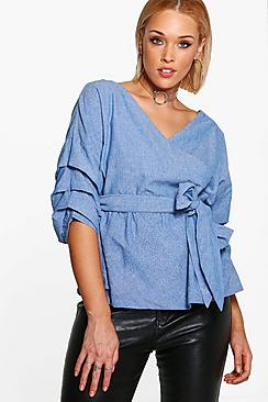 Plus Bluse in Chambray-Optik mit Wickelfront - Boohoo.com