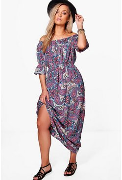Plus Tasha Oriental Floral Printed Maxi Dress