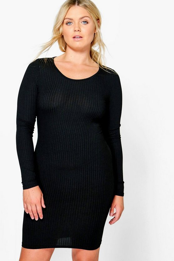Plus Molly Ribbed Long Sleeve Bodycon Dress