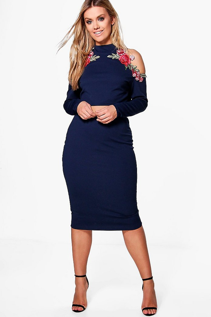 Plus Emily Open Shoulder Embroidered Skirt Co-ord
