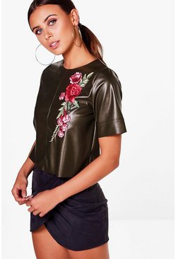 Petite Claire PU Embroidered Tee
