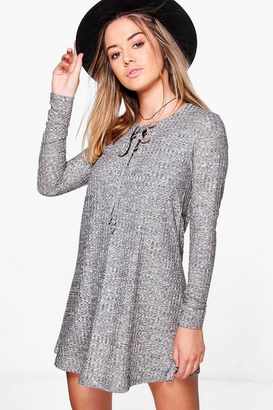 Petite Amerie Lace Up Knitted Swing Dress