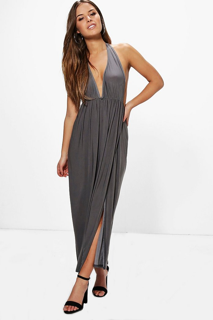 Petite Laurie Plunge Neck Halterneck Maxi Dress