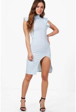 Petite Leona Frill Shoulder Split Leg Midi Dress