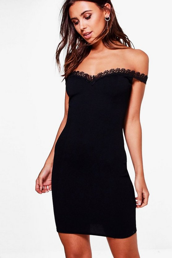 Petite Gracie Scallop Lace Off The Shoulder Dress