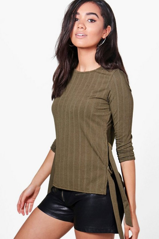 Petite Faye Tie Side Rib D Ring Jumper