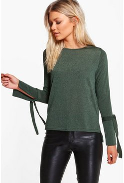 Petite Evie Eyelet lace Up Sleeve Jumper