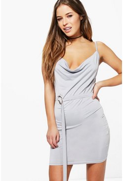 Petite Julia Cowl Neck D Ring Dress