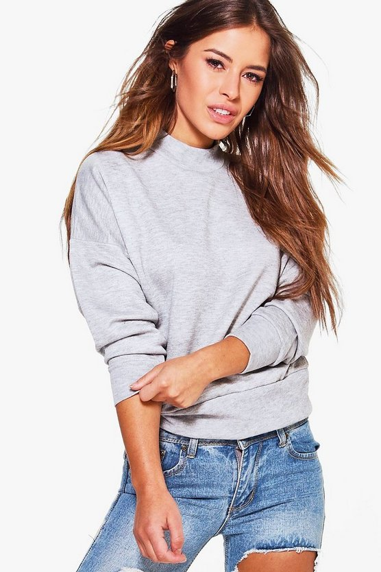 Petite Anabelle High Neck Drop Arm Sweat
