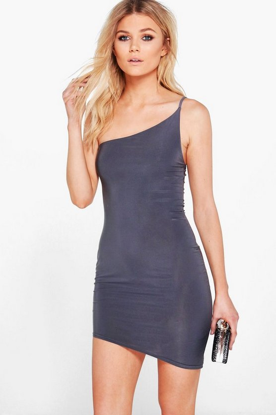 Petite Jasmine Asymmetric Slinky Bodycon Dress