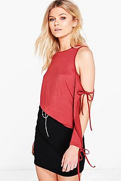 Petite Danielle Open Shoulder Tie Detail Top