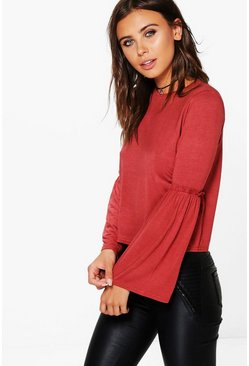 Petite Darcey Ruffle Detail Bell Sleeve Top