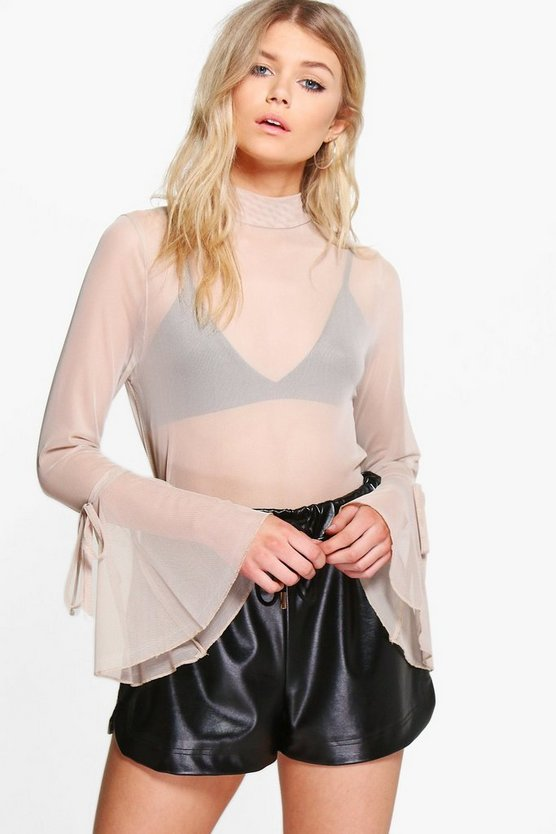 Petite Summer Flute Sleeve High Neck Blouse