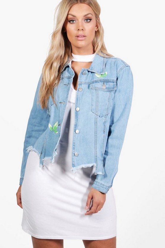 Plus Betsy Floral Ripped Denim Jacket