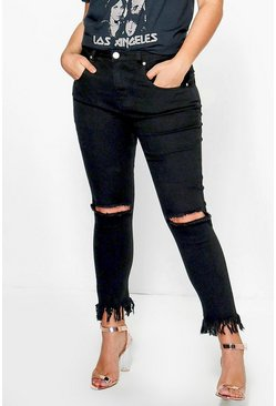 Plus Nancy Rip Knee Fray Hem Skinny jean