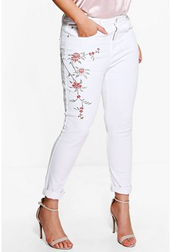 Plus Yasmin Embroidered Mom Jean