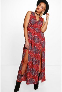 Plus Emily Western Paisley Printed Maxi Dress
