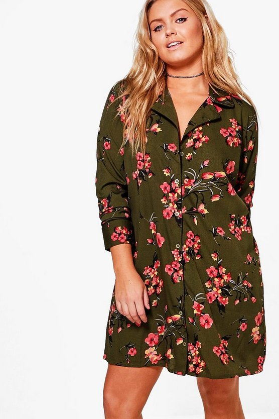 Plus Eleanor Floral Oriental Printed Shirt Dress