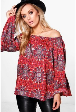Plus Layla Woven Paisley Off The Shoulder Top