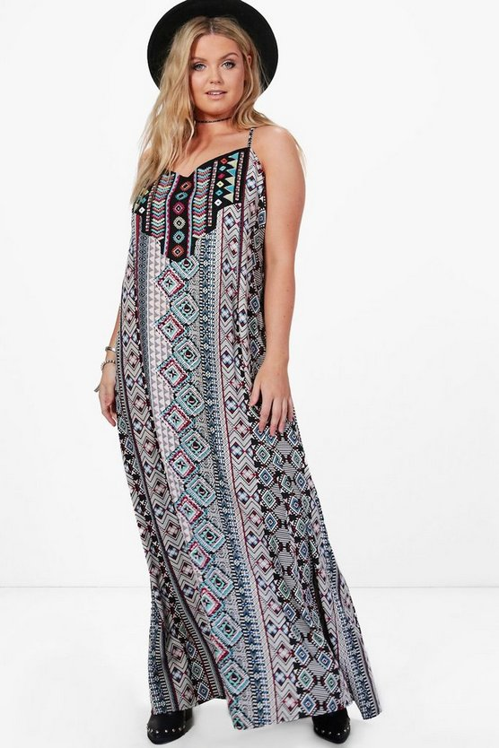 Plus  Lola Embroidered Detail Column Maxi Dress
