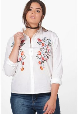 Plus Nicole Embroidered Shoulder Shirt