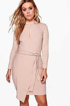 Plus Alison Rib Wrap Tie Waist Dress
