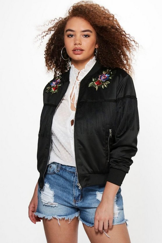 Plus Lara Floral Applique + Tassle Bomber Jacket