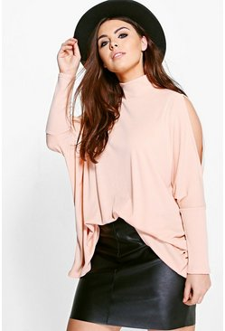 Plus Alicia High Neck Cold Shoulder Batwing Top