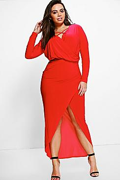 Plus Ciara Strappy Wrap Front Maxi Dress