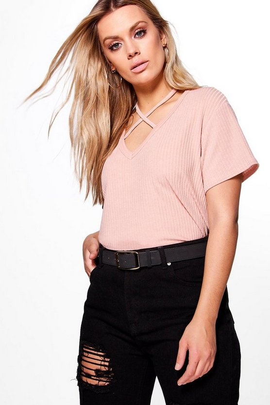 Plus Lena Cross Neck Ribbed Top