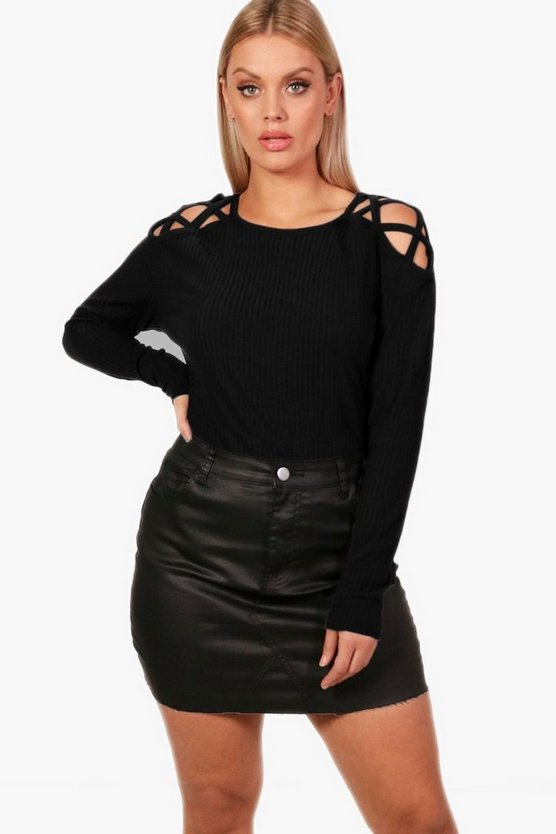Plus Felicity Knitted Cross Shoulder Jumper