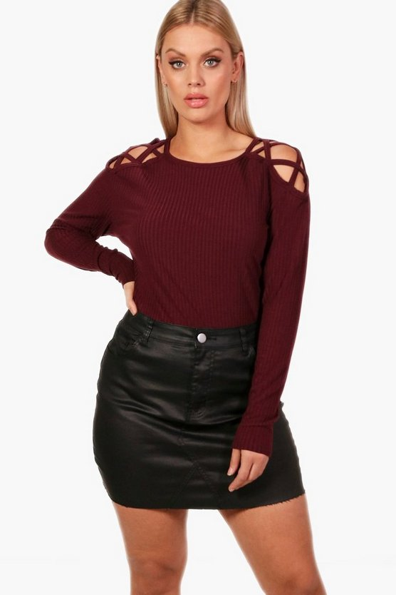 Plus Knitted Cross Shoulder Jumper