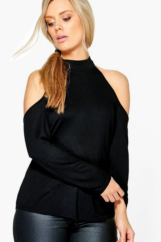 Plus Annie High Neck Cold Shoulder Top