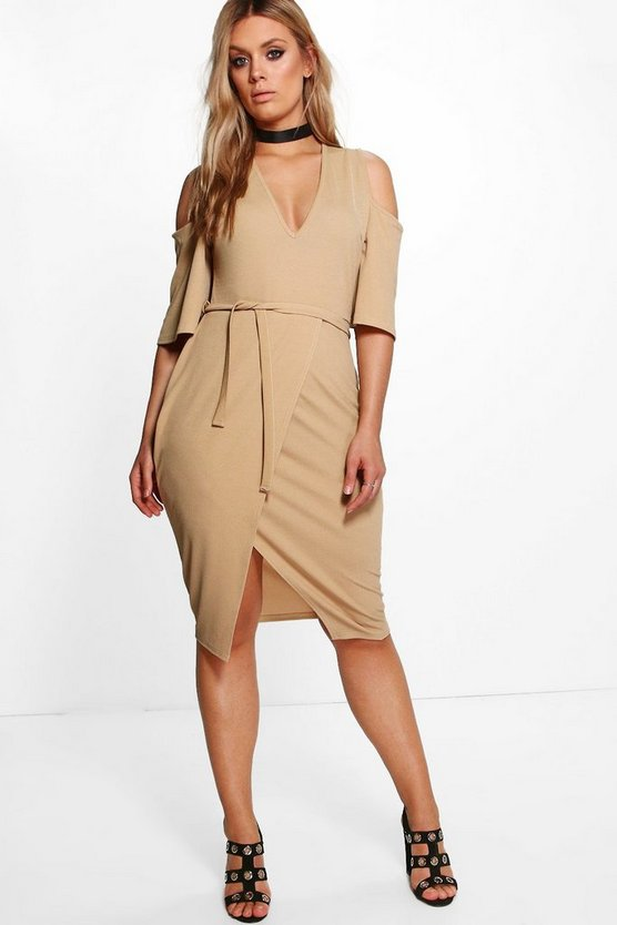 Plus Harriet Tie Waist Cold Shoulder Wrap Dress