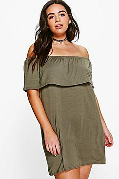 Plus Caitlin Off The Shoulder Ruffle Shift Dress
