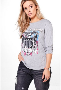 Plus Fiona Band Printed Long Sleeve Tee