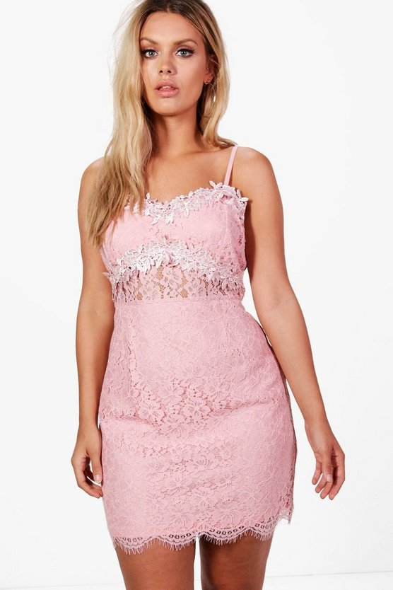 Plus Freya Crochet Lace Strappy Bodycon Dress