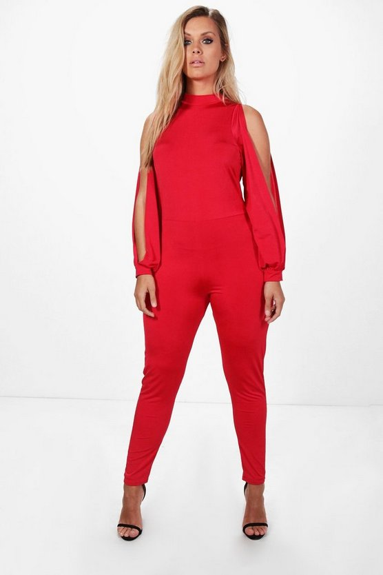 Plus Anya Open Sleeve Slinky Jumpsuit