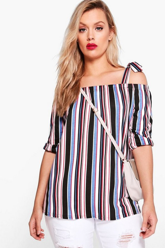 Plus Lizzie Tie Bardot Stripe Top